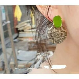 Green Retro Carved Earrings