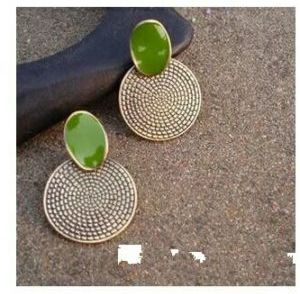 Vintage Green Round earrings