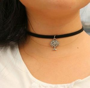 metal tree velvet choker