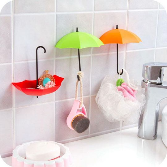 Umbrella Drop Style Clothes Key Hat Wall Hanger Hooks Set of 3 Pcs-center