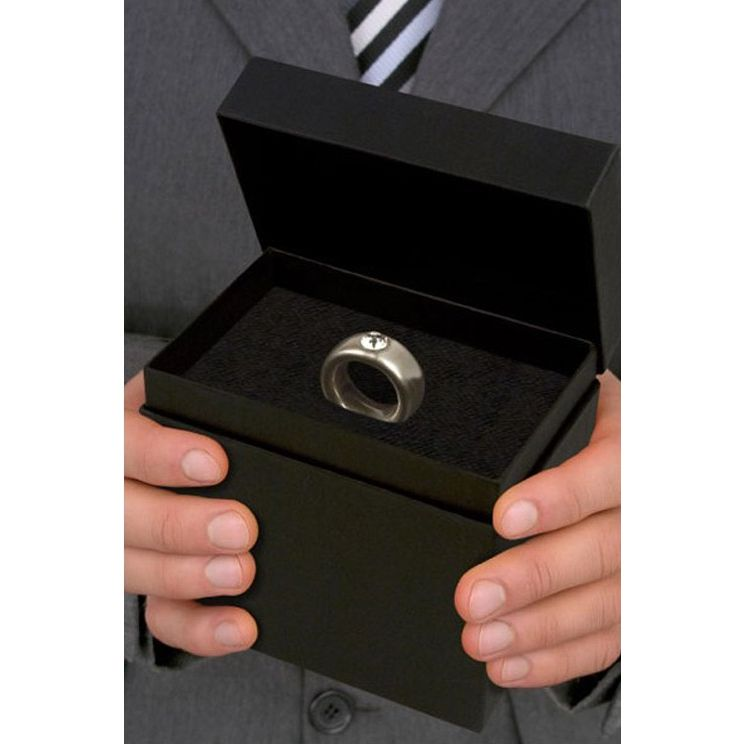 couple ring propose her cup