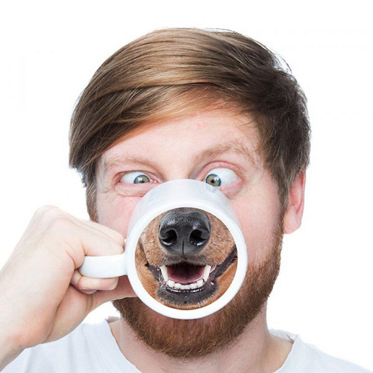 dog face mug with beard