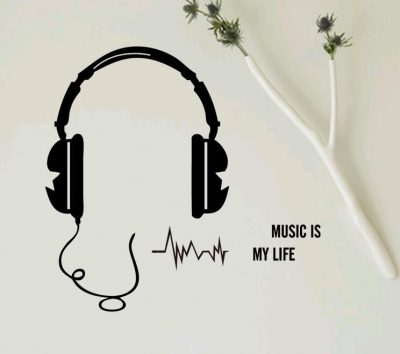 Music Is My Life Headset Switch Sticker Set Of 2 Quirky Gifts