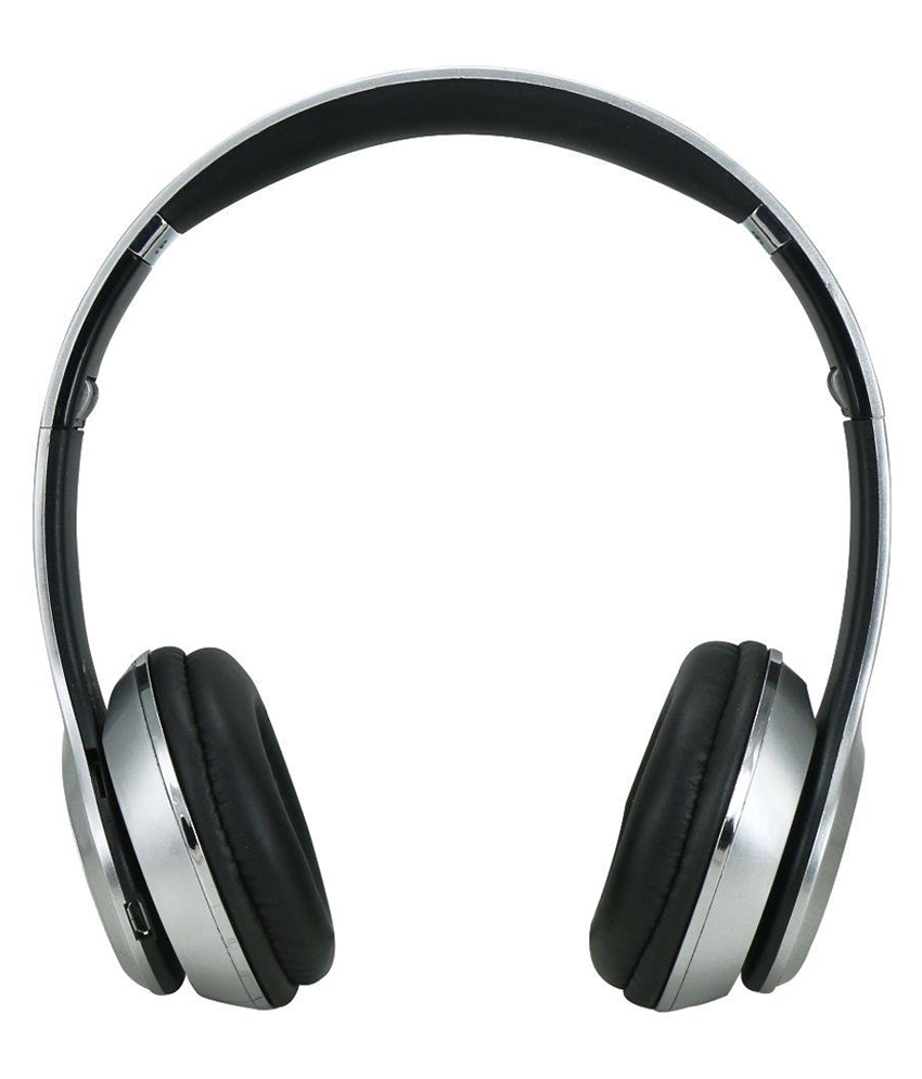 silver Bluetooth headphone