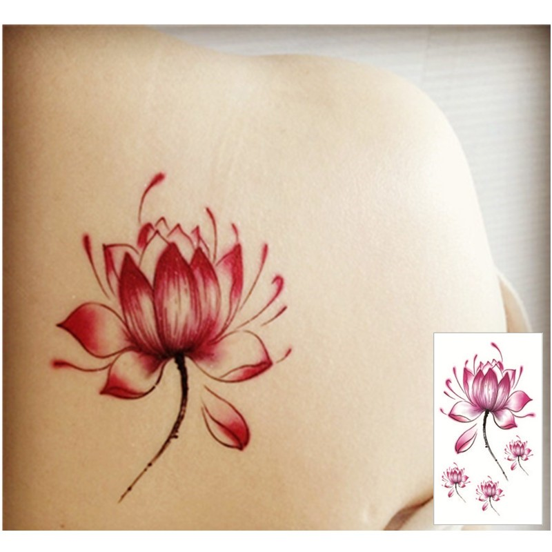 Colored lotus flower temporary tattoo buy unique gifts and lotus tattoo mightylinksfo Images