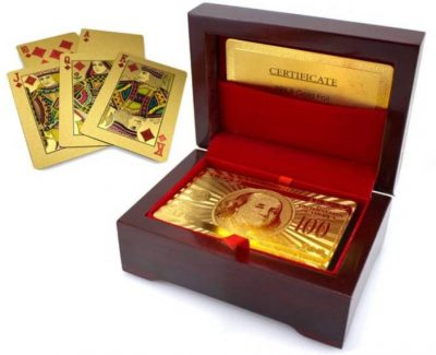 wooden box playing cards