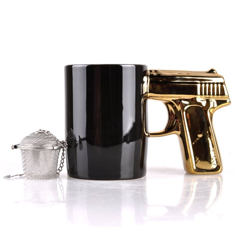 Black Mug Golden Gun