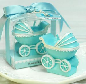 Blue Baby Carriage Candle