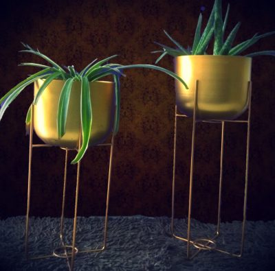 Golden Metal Planter