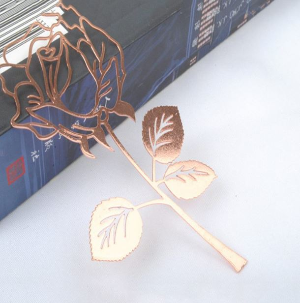 Rose Metal Bookmark with Card
